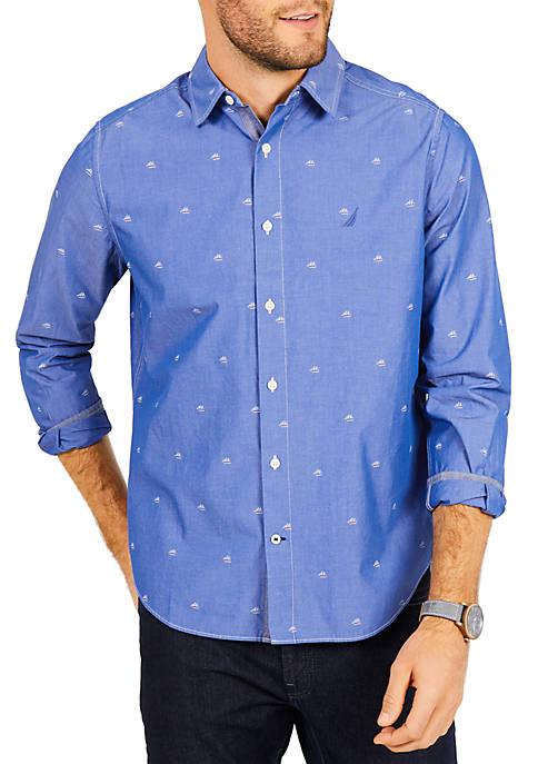 Nautica Classic Fit Sailboat Print Shirt