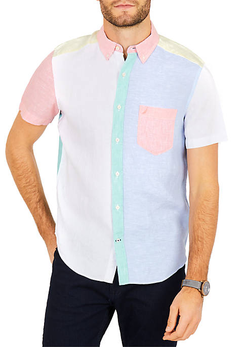 Nautica Classic Fit Linen Color Block Short Sleeve