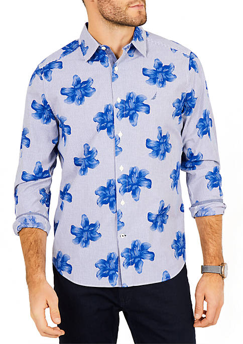 Nautica Classic Fit Stretch Cotton Floral Striped Shirt