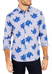 Classic Fit Stretch Cotton Floral Striped Shirt
