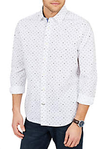 Classic Fit Casual Geo Print Button Down