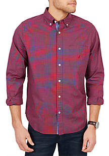 Classic Fit Casual Long Sleeve Tiny Plaid Button Down
