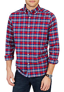 Classic Fit Long Sleeve Yarn Dyed Oxford Plaid Button Down