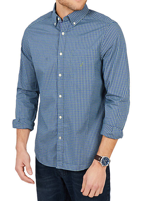 Nautica Classic Fit Long Sleeve Casual Plaid Poplin
