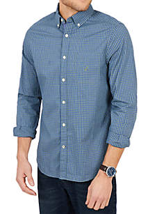 Classic Fit Long Sleeve Casual Plaid Poplin Button Down
