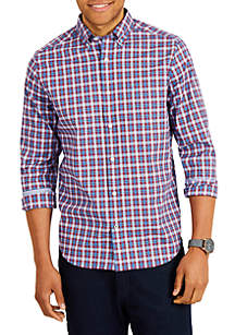 Long Sleeve Classic Fit Plaid Button-Down Shirt