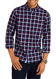 Long Sleeve Brushed Twill Windowpane Shirt