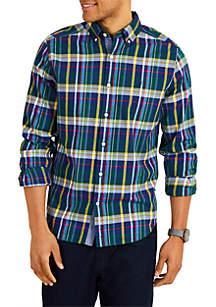 Classic Fit Long Sleeve Plaid Button-Down Shirt