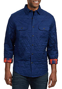 Classic Fit Quilted Plaid Twill Button Down Shirt