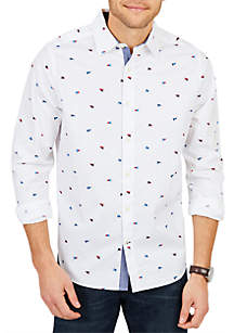 Classic Fit Long Sleeve Stretch Waving Flag Print Button Down