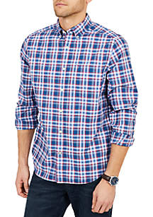 Classic Fit Long Sleeve Stretch Plaid Button Down