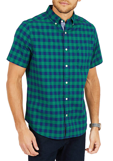 Classic Fit Stretch Oxford Plaid Short Sleeve Shirt