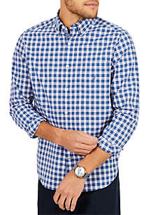Nautica Nautica Classic Fit Stretch Cotton Plaid Shirt