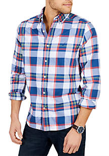 Classic Fit Casual Long Sleeve Brushed Twill Plaid Button Down Shirt