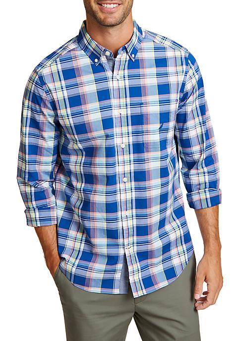 Classic Fit Plaid Long Sleeve Button Down Shirt