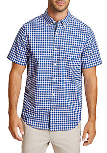 Classic Fit Plaid Short Sleeve Button Down