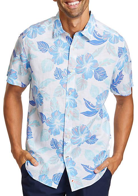 Nautica Linen-Blend Floral Classic Fit Button Down