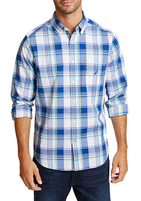 Nautica Long Sleeve Plaid Classic Fit Button Down