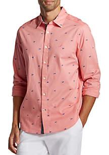 Nautica Signal Flag Motif Oxford Long Sleeve Classic Fit Shirt