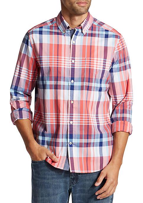 Nautica Long Sleeve Plaid Classic Fit Shirt