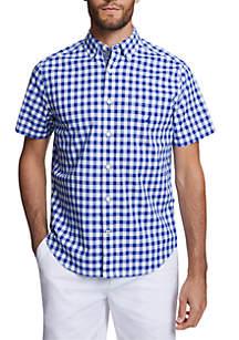 Nautica Short Sleeve Gingham Classic Fit Stretch Poplin Shirt
