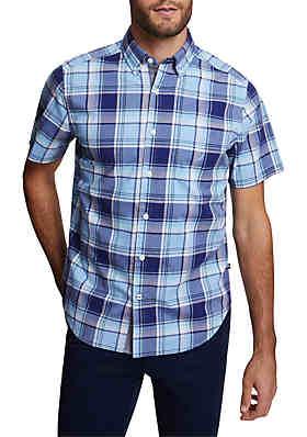 9f525cc2832bf9 Nautica Stretch Poplin Short Sleeve Plaid Classic Fit Shirt ...
