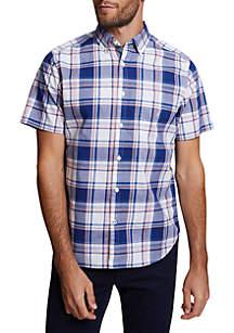 Nautica Stretch Poplin Short Sleeve Plaid Classic Fit Shirt