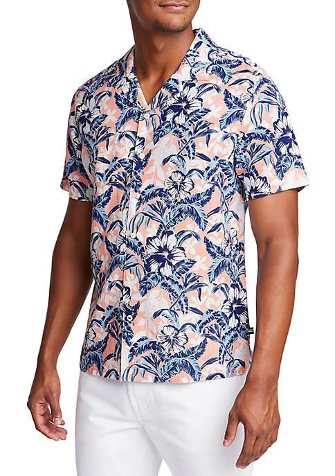 Nautica Short Sleeve Linen Blend Tropical Flower Classic
