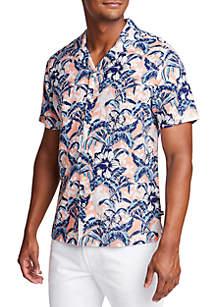Nautica Short Sleeve Linen Blend Tropical Flower Classic Fit Shirt