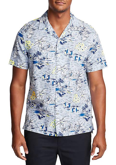 Nautica Short Sleeve Linen Blend Classic Fit Tropical