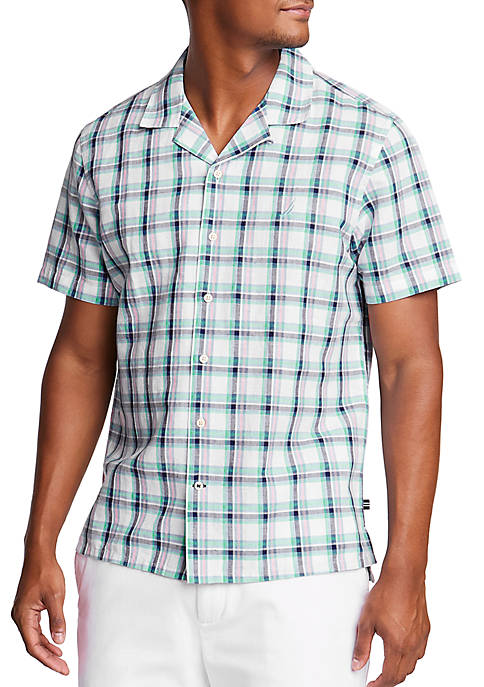 Nautica Short Sleeve Linen Blend Classic Fit Printed