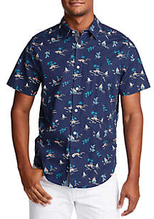 Nautica Short Sleeve Tropical Leaf Classic Fit Shirt