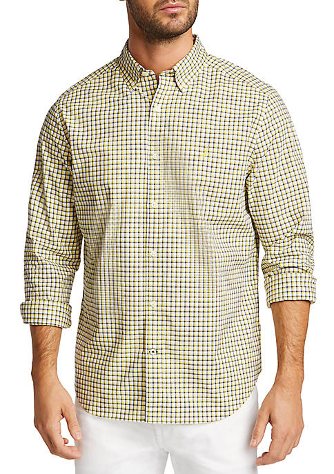 Nautica Long Sleeve Navtech Plaid Classic Fit Shirt