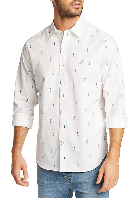 Nautica Lighthouse Motif Navtech Classic Fit Shirt