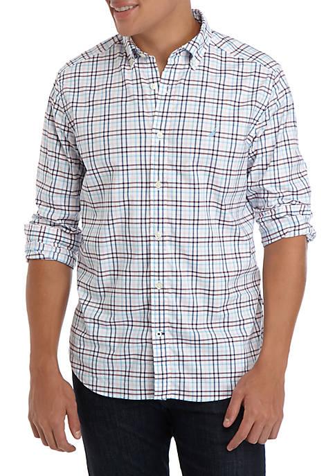 Nautica Mens Long Sleeve Tattersall Shirt