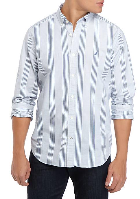 Nautica Mens Long Sleeve Vertical Stripe Shirt