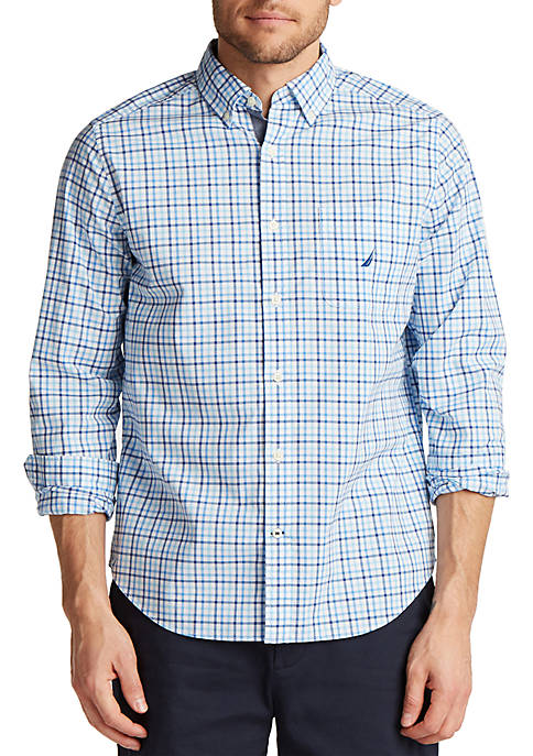 Nautica Gingham Long Sleeve Button Down Shirt