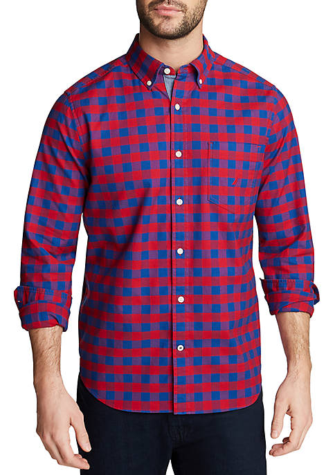 Nautica Mens Classic Fit Oxford Plaid Shirt