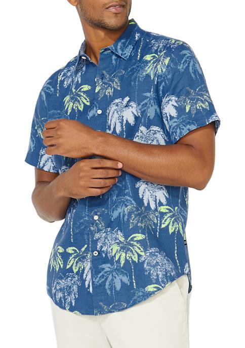 Nautica Printed Linen Button Down Shirt