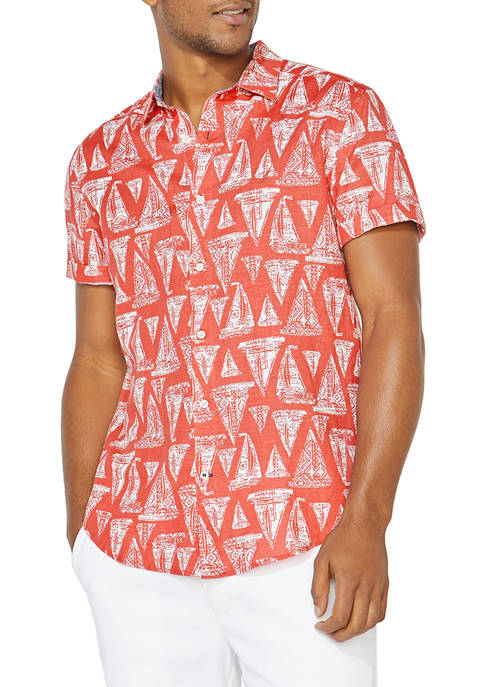 Sail Print Linen Button Down Shirt