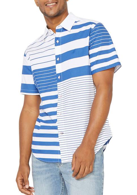 Nautica Mens Short Sleeve Poplin Striped Button Down