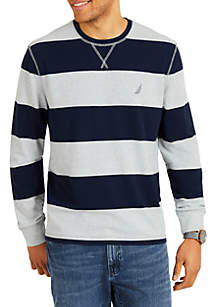 Big & Tall Long Sleeve Rugby Stripe Crew Neck Sweater