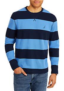 Long Sleeve Rugby Stripe Crewneck Sweater
