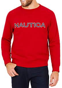 Nautica Big & Tall Long Sleeve Fleece Graphic Crew Neck Tee