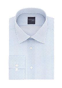 Long Sleeve Slim Stretch Medallion Print Dress Shirt