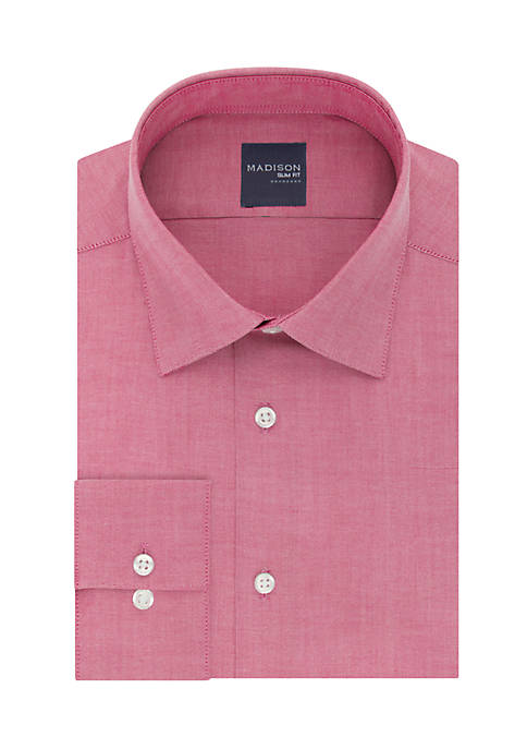 Madison Long Sleeve Slim Stretch Solid Dress Shirt