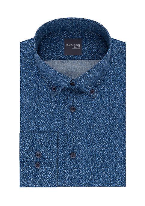 Madison Long Sleeve Blue Print Dress Shirt