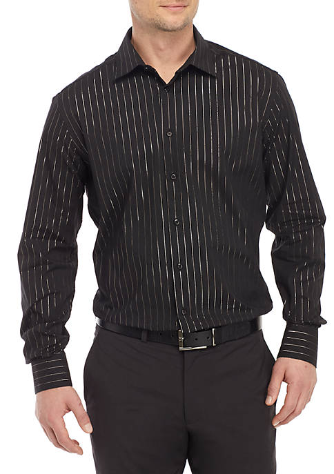 Madison Slim Stretch Black LUREX® Stripe Shirt