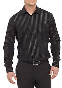 Madison Slim Stretch Black LUREX® Stripe Shirt