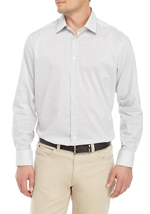Slim Stretch Medallion Print Dress Shirt